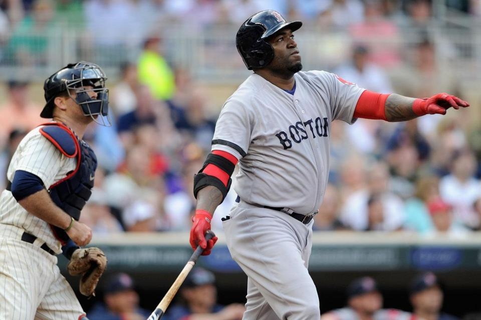 David Ortiz admires his three-run homer in the first. He added an RBI single and a two-run blast for six RBIs.