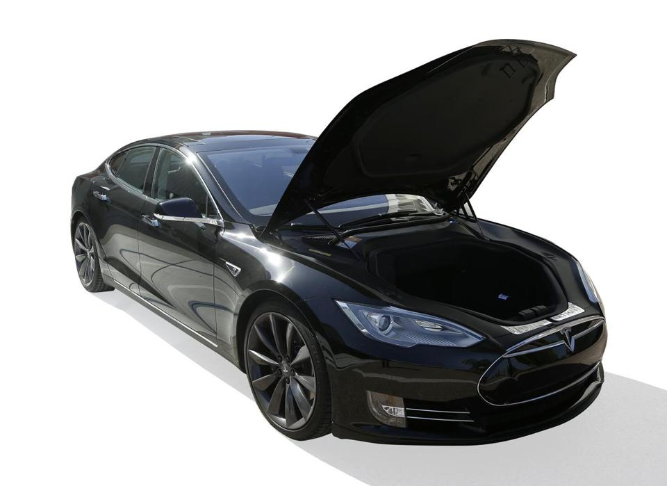 The Tesla S has lots of luggage space under the hood — because the car has no engine.