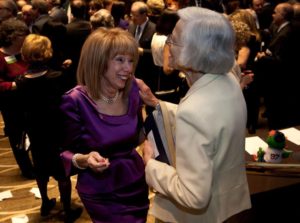 Merle Grandberg (left) and Helen Kass at the JCHE's annual event.