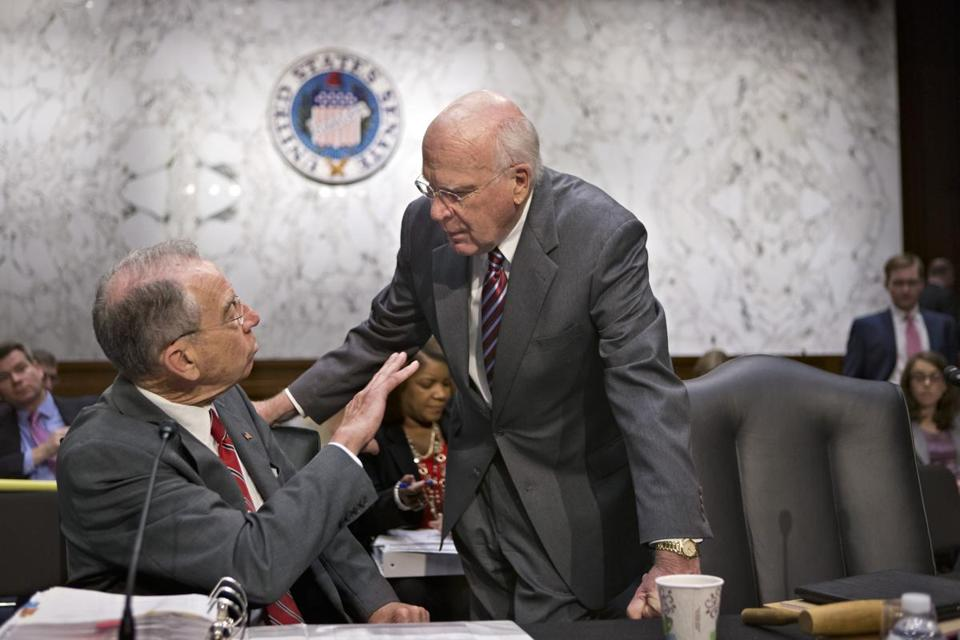 Senator Patrick Leahy (right) had proposed to give same-sex spouses equal rights under immigration law.
