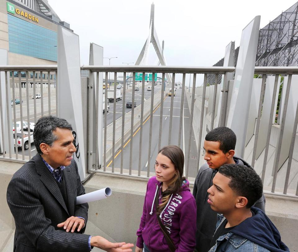 Miguel Rosales, designer of the bridge, met Wednesday with students from Greater Lawrence Technical School.