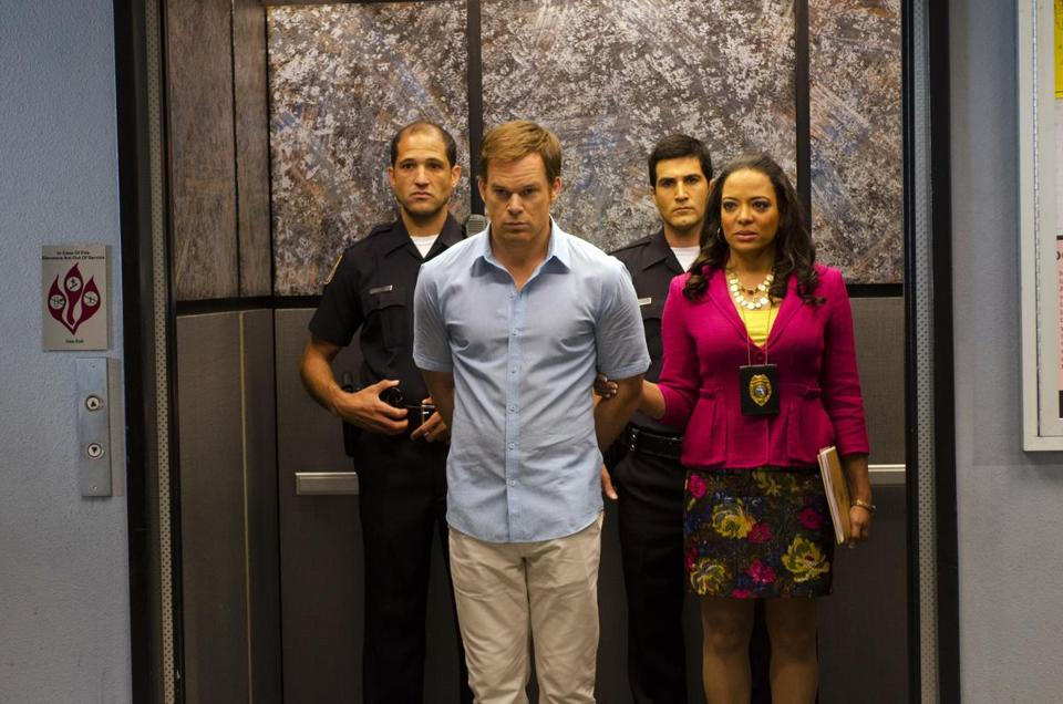 "Michael C. Hall (pictured last season with Lauren Velez) will portray the title character in ""Dexter"" for one more season, beginning June 30."
