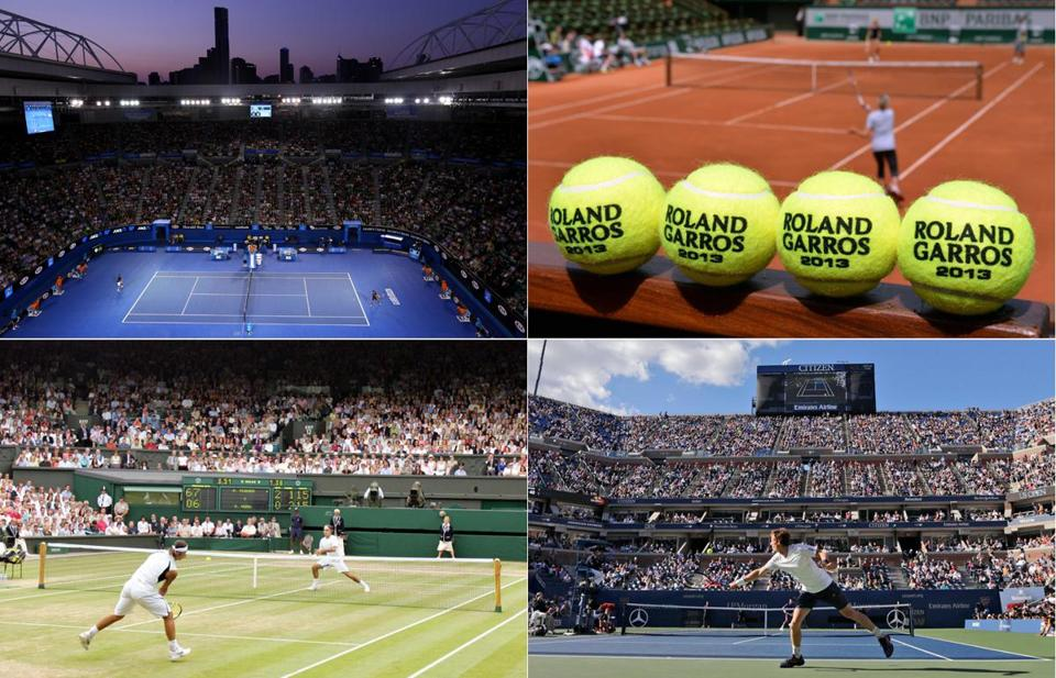 Clockwise from top left: Rod Laver Arena at the Australian Open; balls lined up at the French Open's Court Philippe Chartrier; Arthur Ashe Stadium at the US Open; and Centre Court at Wimbledon.