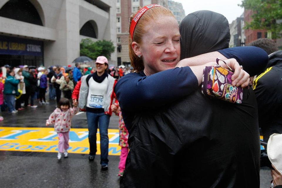 Sarah Rudolph shared a moment with her boyfriend on Saturday after taking part in OneRun, an event organized by Boston running clubs and businesses.