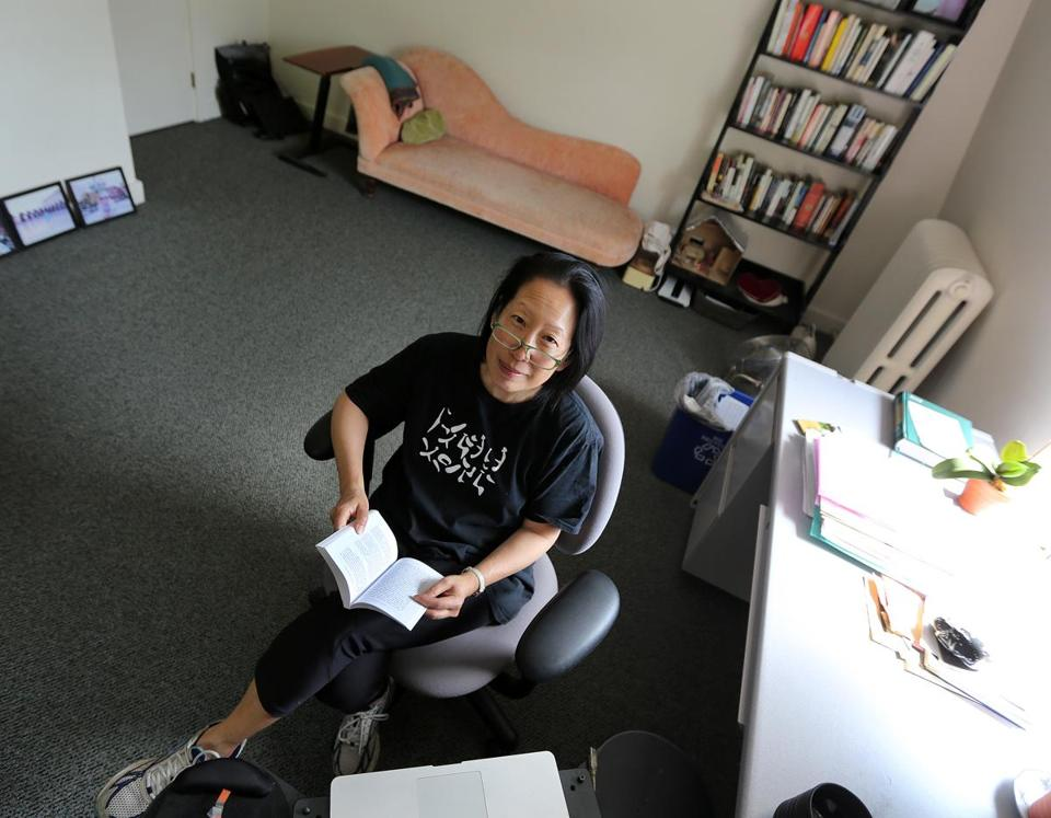 Gish Jen in her office.