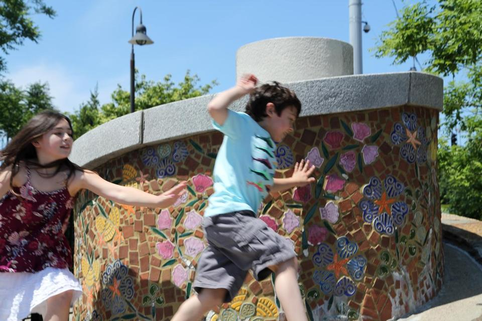 Anna and Nick Devlin, the author's children, chased one another around one of several spirals in Charlestown, this one at Paul Revere Park.