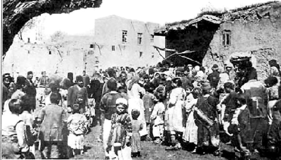 Armenian refugees crowd around a public oven during the siege of Van in 1915.