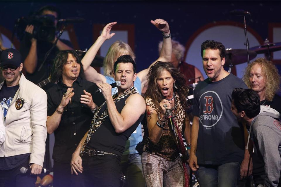 "The ""Boston Strong'' grand finale included (from right )  Dane Cook, Steven Tyler, and Jordan Knight."