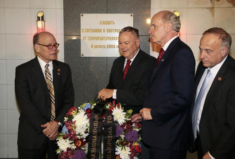 From left, US Representatives Steve Cohen, Dana Rohrabacher, William Keating, and Steve King placed a wreath at the site of a 2000 terrorist attack in  Moscow.