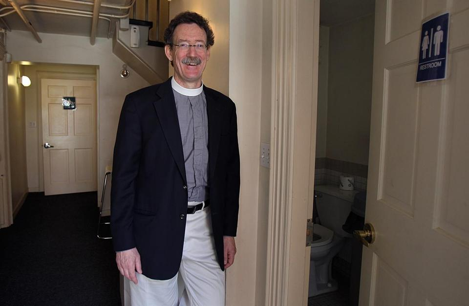 The Rev. Stephen Ayres of Old North Church has made two restrooms available for those trekking the Freedom Trail.