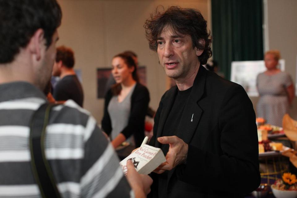 Author Neil Gaiman (right) will teach an advanced writing workshop about fantasy fiction at Bard College in Annandale-on-Hudson, N.Y.