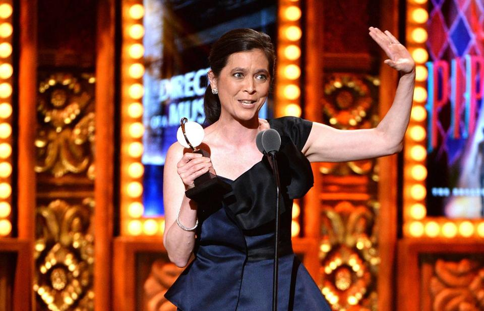 "Diane Paulus (above), artistic director of the American Repertory Theater, won her first Tony Award Sunday night for directing the revival of ''Pippin."" The musical, which opened in Cambridge before going to Broadway, took four awards."