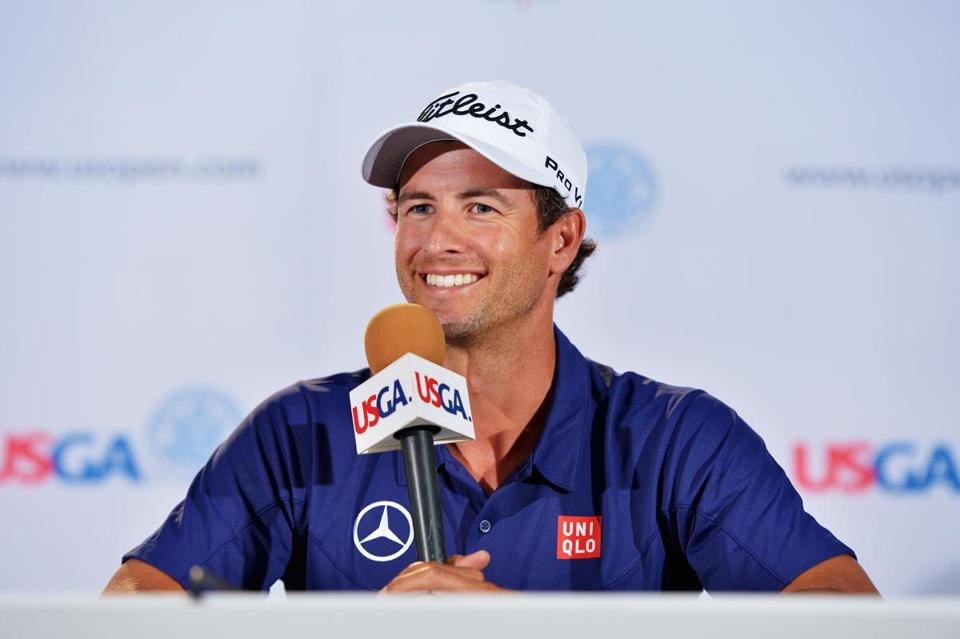 Adam Scott was all smiles when he spoke at the US Open on Monday.
