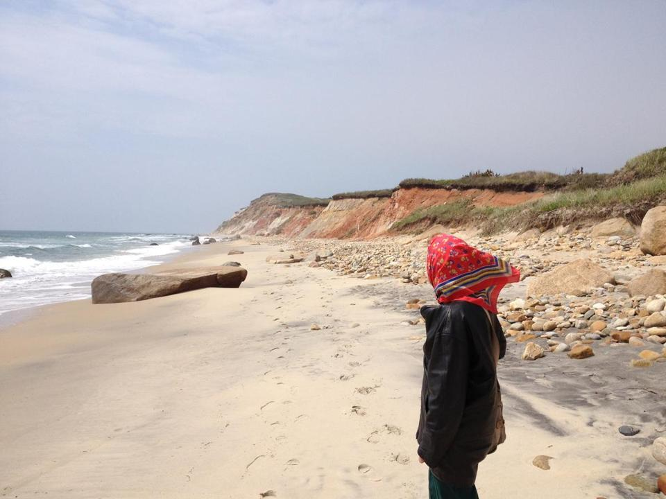 Phyllis Méras at Aquinnah, on the Vineyard she has known since her childhood, when beach walks first turned up such treasures as shells and driftwood.
