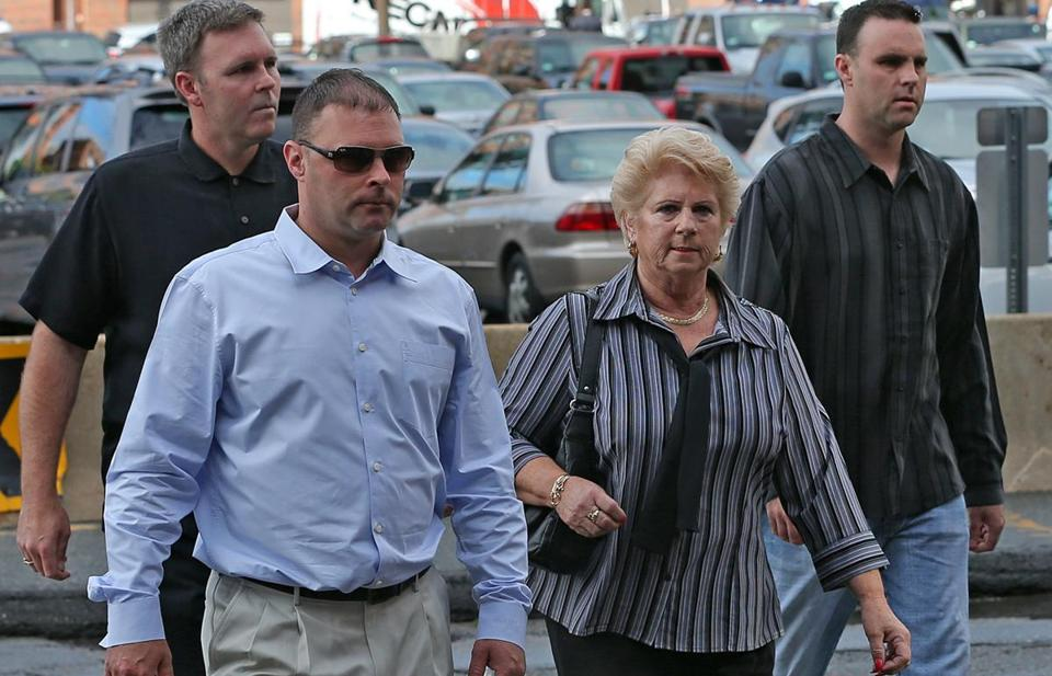 "Pat Donahue arrived arrive At Moakley Courthouse with her sons, Shawn, Michael, and Tommy, for the trial of James ""Whitey"" Bulger on June 12."