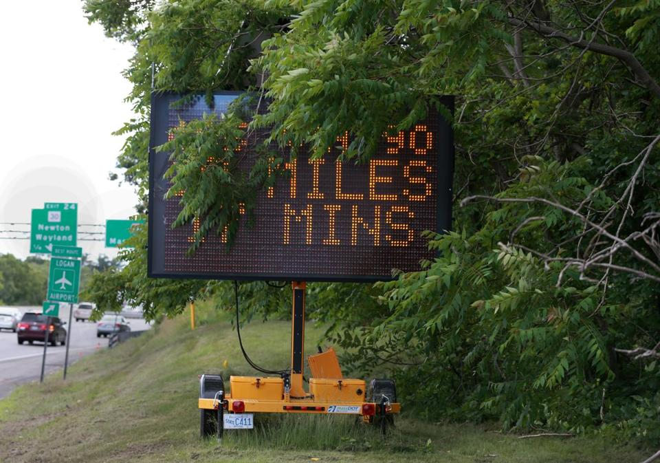 The signs have not always been reader friendly, including this one on Interstate 95 near the Massachusetts Turnpike.