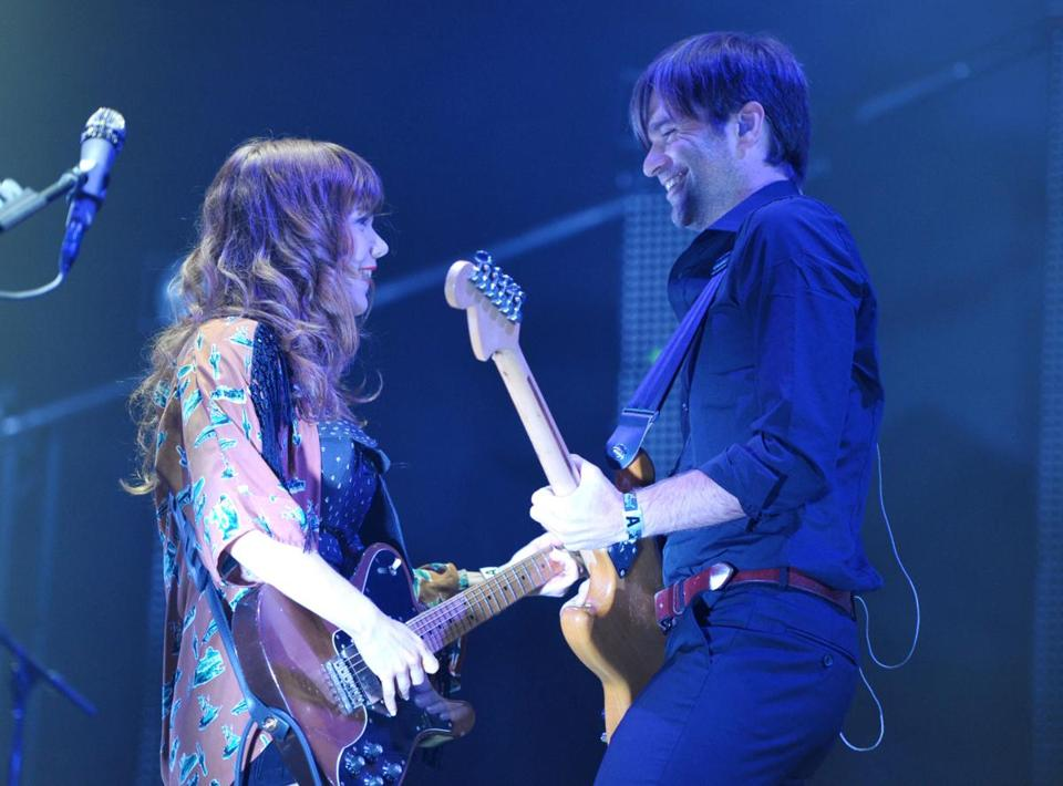 Jenny Lewis, left, and Ben Gibbard of The Postal Service performed at Coachella Valley Music and Arts Festival.