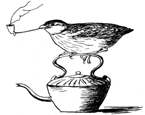 "16find - ***warning: image lo res, do not use for more than 1.5 columns.*** ""The Queer Querulous Quail, who smoked a Pipe of tobacco on the top of a Tin Tea-kettle."" from ""Edward Lear's Nonsense Birds"" (Edward Lear)"
