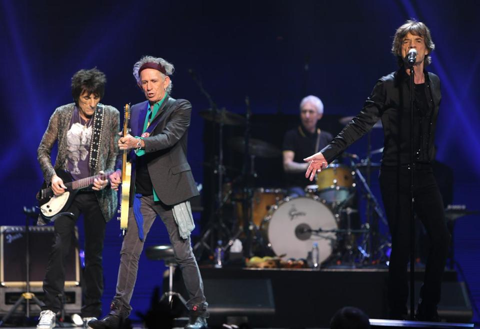 The Rolling Stones, (left to right) Ronnie Wood, Keith Richards, Charlie Watts, and Mick Jagger, rocked the TD Garden on Wednesday night.