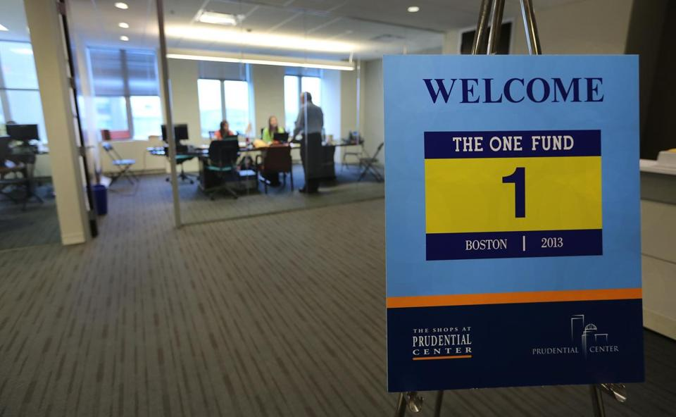 The offices of One Fund Boston in the Prudential Center run on items given by firms and the labor of volunteers.