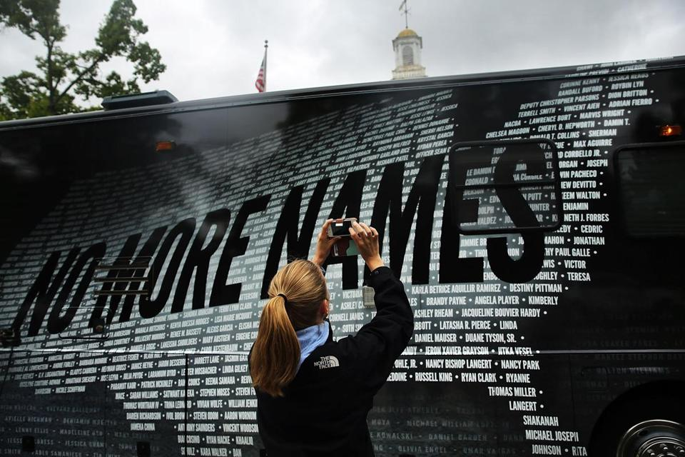 Lindsay Knauf took a picture of the names of people killed by gun violence since the shooting at Newtown's Sandy Hook Elementary School.
