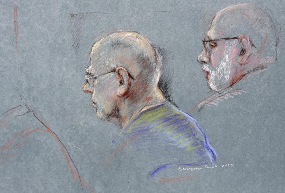 "This courtroom sketch depicts James ""Whitey"" Bulger during the first day of his racketeering trial."