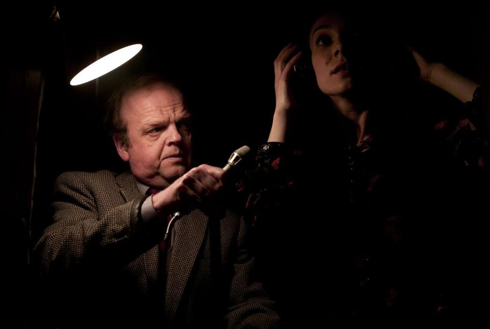 "Toby Jones (with Layla Amir) plays a meek sound engineer in ""Berberian Sound Studio."""