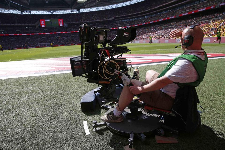 A television cameraman operated a 3-D camera at the Championship playoff final soccer match between Crystal Palace and Watford at Wembley Stadium in London last month.