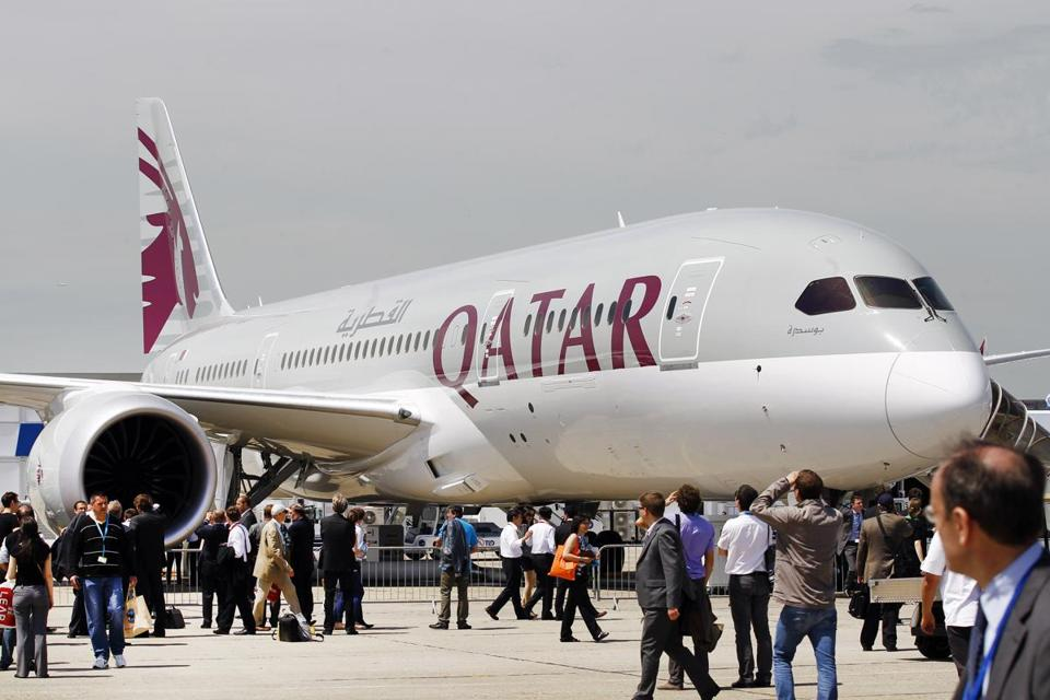A Qatar Airways Boeing 787 Dreamliner was on display at the Paris Air Show.