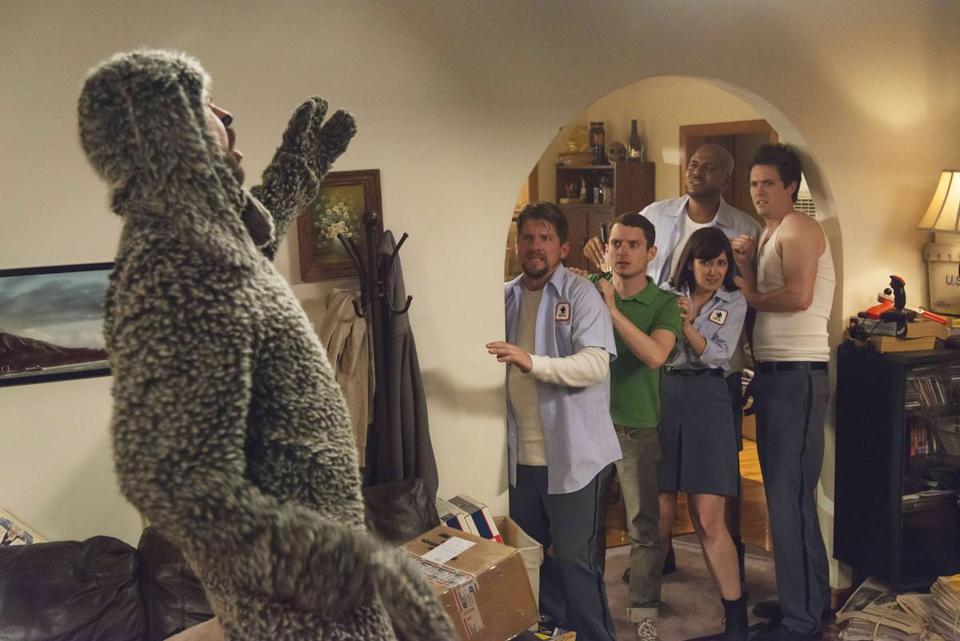 "Jason Gann, Zachary Knighton, Elijah Wood, Vincent M. Ward, Dixie Perkinson, and Jim Mahoney in ""Wilfred."""