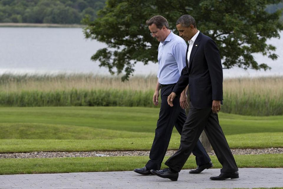 Prime Minister David Cameron of Britain and President Obama walked near a lake after the president arrived Monday at the G-8 summit in Enniskillen, Northern Ireland.