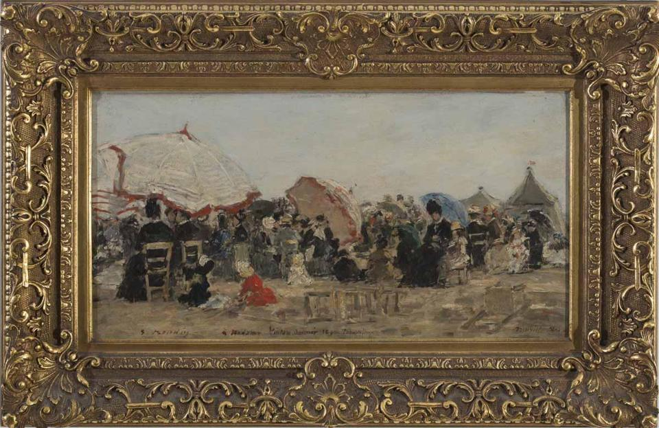 "Clockwise from the top: ""The Beach at Trouville"" (1890), an oil painting  by the French Impressionist Eugène Boudin, was the top seller at Northeast Auctions' Memorial Day Weekend Auction bringing $542,400 against a $90,000-$150,000 estimate. This small 4⅞ -inch diameter Chinese export porcelain Famille verte bowl sold for the stupendous sum of $251,200 against a $400-$600 estimate. Federal carved giltwood girandole mirror that brought $8,400 against a $3,000-$5,000 estimate was among 28 lots of property from the Museum of the City of New York deacessioned by Northeast Auctions to benefit the museum's Future Acquisitions Fund. Norman Rockwell's 1934 oil painting ""Starstruck"" brought $2 million, the third-highest price at Christie's American Art Auction. The estimate was $800,000-$1.2 million. Edward Hopper's 1932 watercolor of the Kelly Jenness House on Cape Cod sold for $4.2 million, setting a world auction record for a work on paper by the artist. The estimate was $2 million-$3 million."