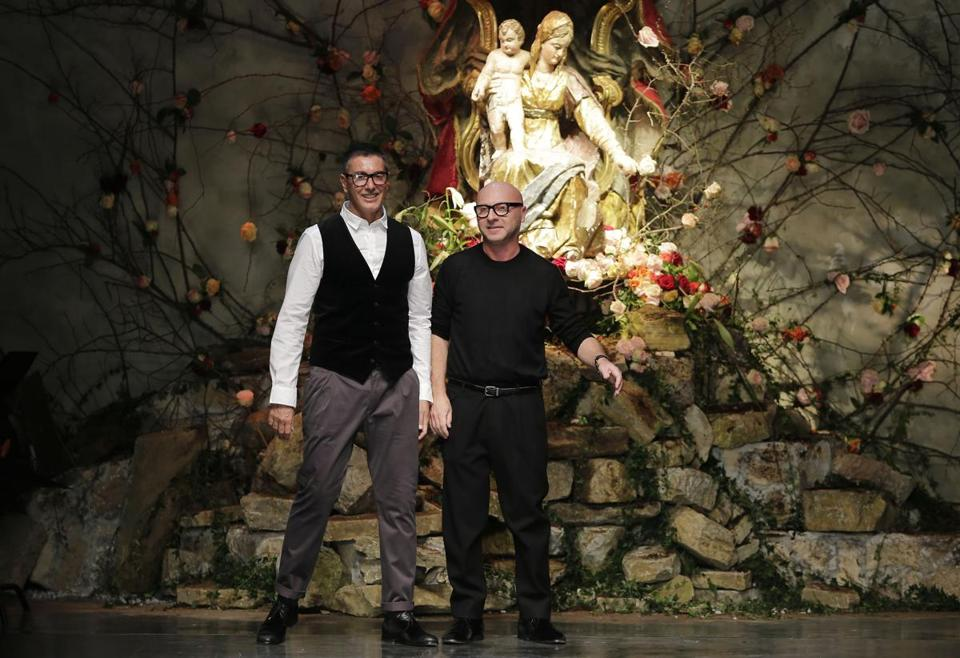 Stefano Gabbana (left) and Domenico Dolce bowed after a fashion show in Milan in January.