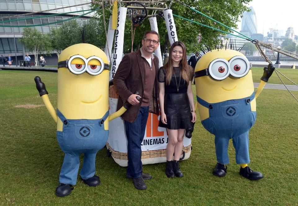 "Steve Carell and Miranda Cosgrove push ""Despicable Me 2"" in London."