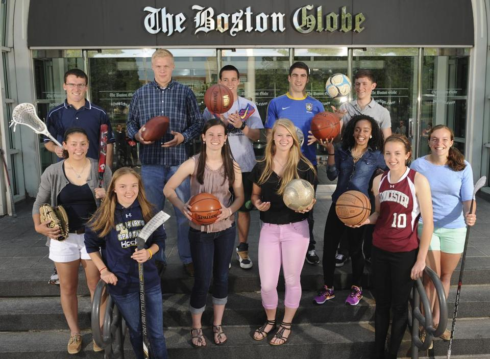 The 2013 Boston Globe/Richard Phelps Scholar-Athletes: Back row, from left, Needham's Ned Connolly, Lunenburg's Greg Abare, Arlington Catholic's Kevin Connors, Melrose's Zeke Vainer, and Latin Academy's Nikiander Pelari. Front row, from left, Avon's Maegan Hoffman, St. Mary's Alison Butler, Braintree's Rachel Norton, Auburn's Erin Scanlon, Charlestown's Sara Centeio, Gloucester's Sophia Black, and Lexington's Sara Lehman. Not pictured, A-B's Tim Cox and Barnstable's Nick Peabody.