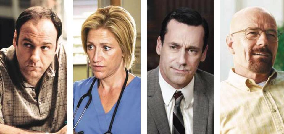 TV critic Matthew Gilbert's Mount Rushmore of great TV actors: (from left) James Gandolfini, Edie Falco, Jon Hamm, and Bryan Cranston.