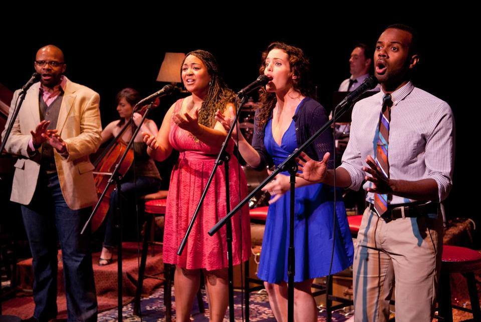 "From left: Brian Richard Robinson, Kami Smith, Jennifer Ellis, and Cheo Bourne performing in the cabaret-style ""Never Far From Home: Love Songs About Leaving,"" the works of local composers, presented by Central Square Theater."