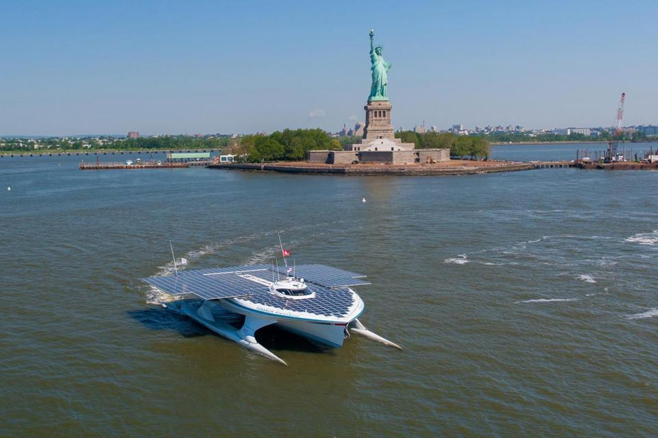 The MS Tûranor PlanetSolar's 5,000 square feet of solar panels stretch 75 feet across and 115 feet stem to stern when fully deployed.