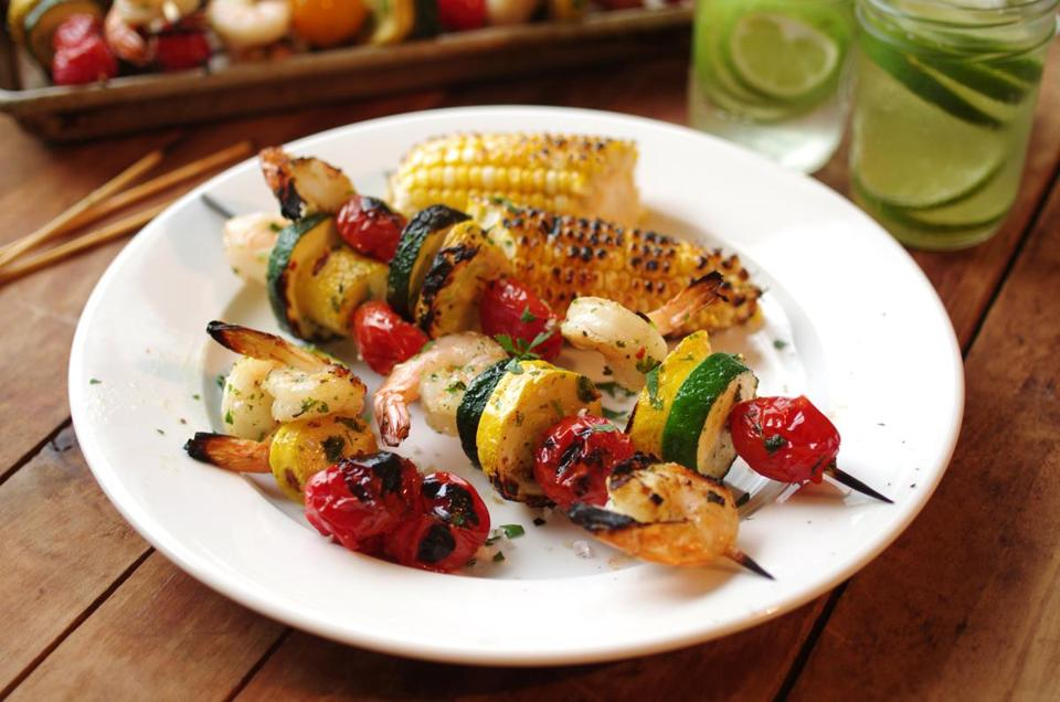 Shrimp and vegetable skewers.
