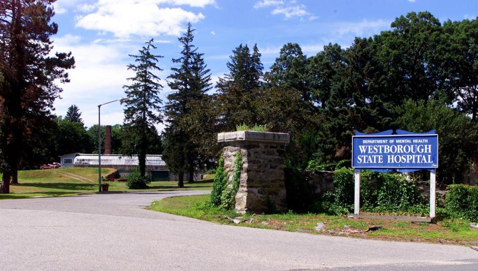 The entrance to Westborough State Hospital, which closed in 2010. The 125-acre site includes more than 40 buildings.