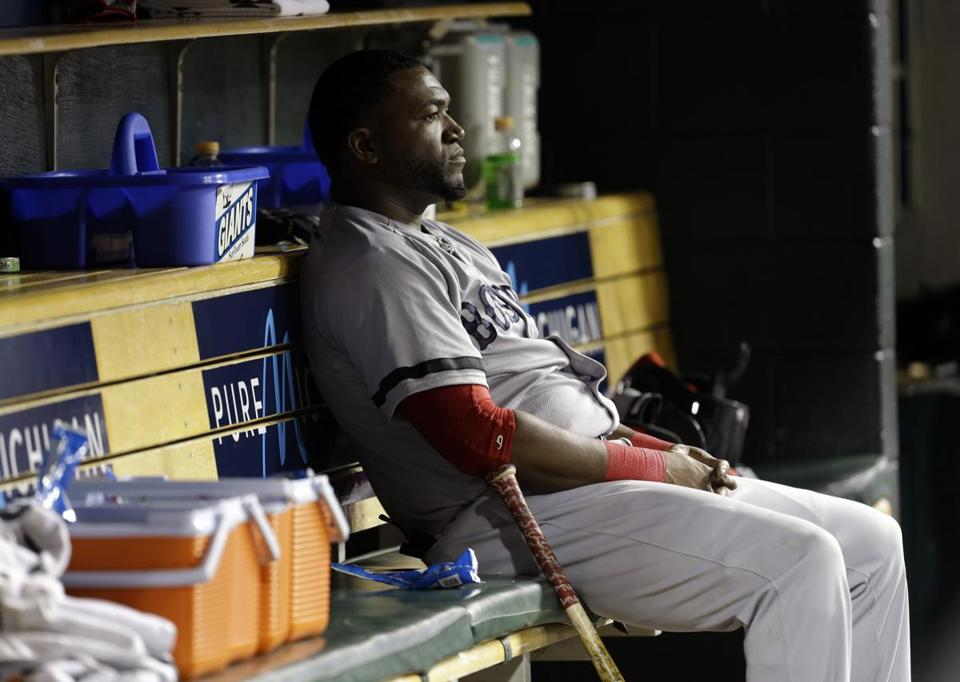 A dejected David Ortiz sat on the bench after the Tigers' walkoff home run.