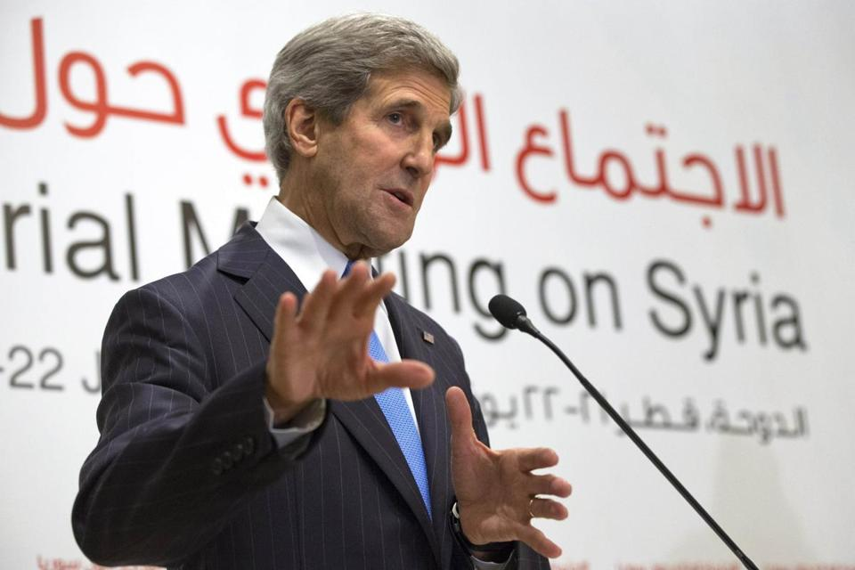 "John F. Kerry said Saturday that a meeting of 11 nations in Qatar was a chance to discuss ""efforts to increase and coordinate support for the Syrian political and military opposition."""