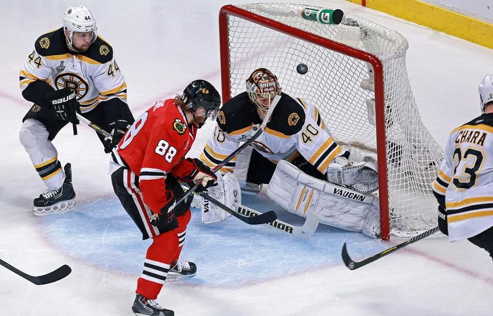 Chicago's Patrick Kane put this shot past Bruins goalie Tuukka Rask in the second period.