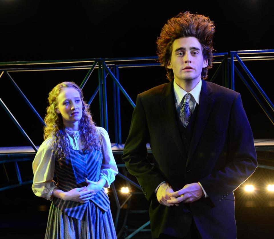 "Sarah Oakes Muirhead and Ross Mumford in Gloucester Stage Company's ""Spring Awakening."""