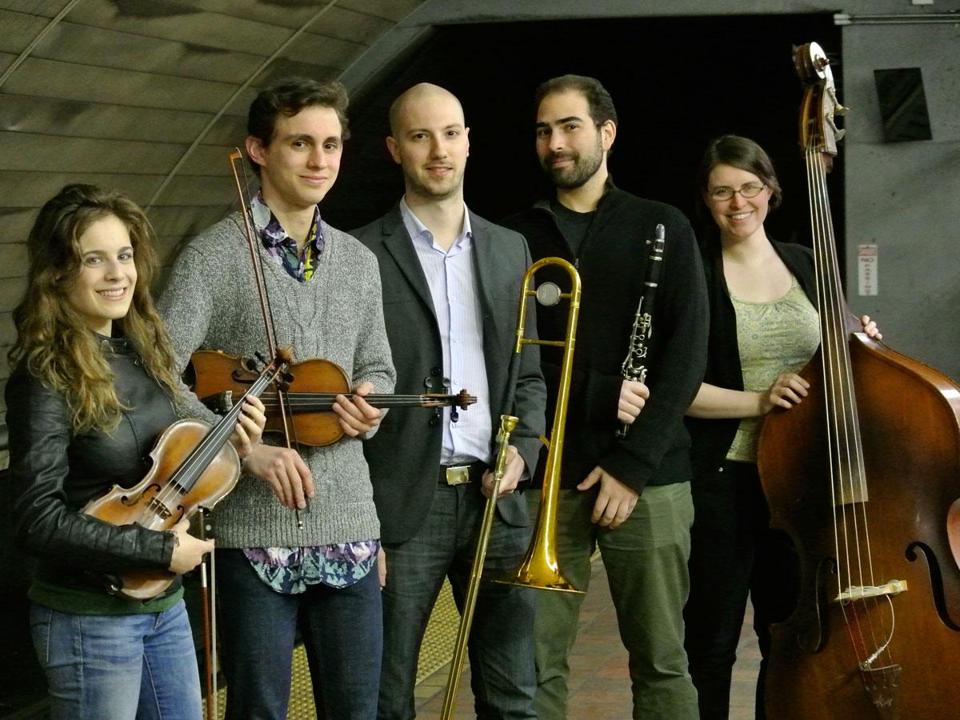From left: Abigale Reisman, Jonathan Cannon, Peter Fanelli, Nat Seelen, and Kirsten Lamb of Ezekiel's Wheels.