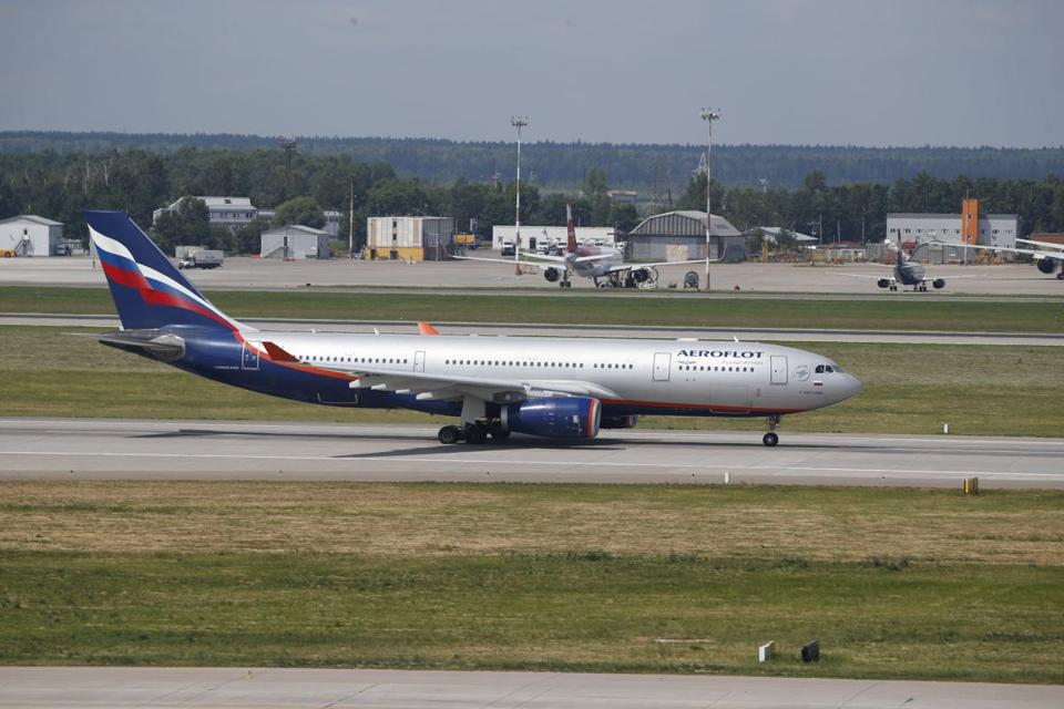 The Aeroflot Airbus A330 plane that was to carry former NSA contractor Edward Snowden on a flight to Havana, Cuba, taxies out at Moscow's airport.