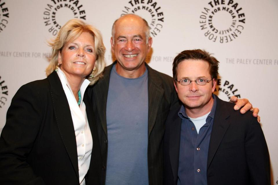 "Mr. Goldberg (center) with ""Family Ties'' stars Meredith Baxter and Michael J. Fox in 2008."