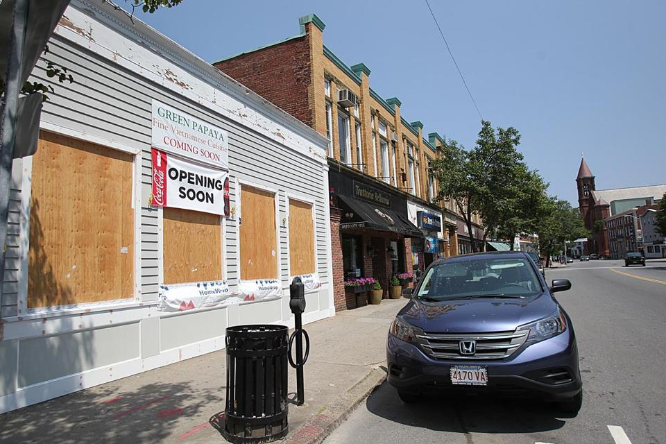 This building at 214 Cabot St. received a grant this year to redo the facade for a new restaurant, Green Papaya.