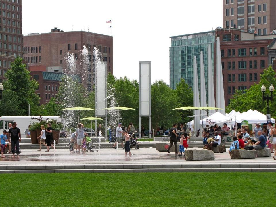 A fountain near the Greenway Open Market on the Rose Fitzgerald Kennedy Greenway.