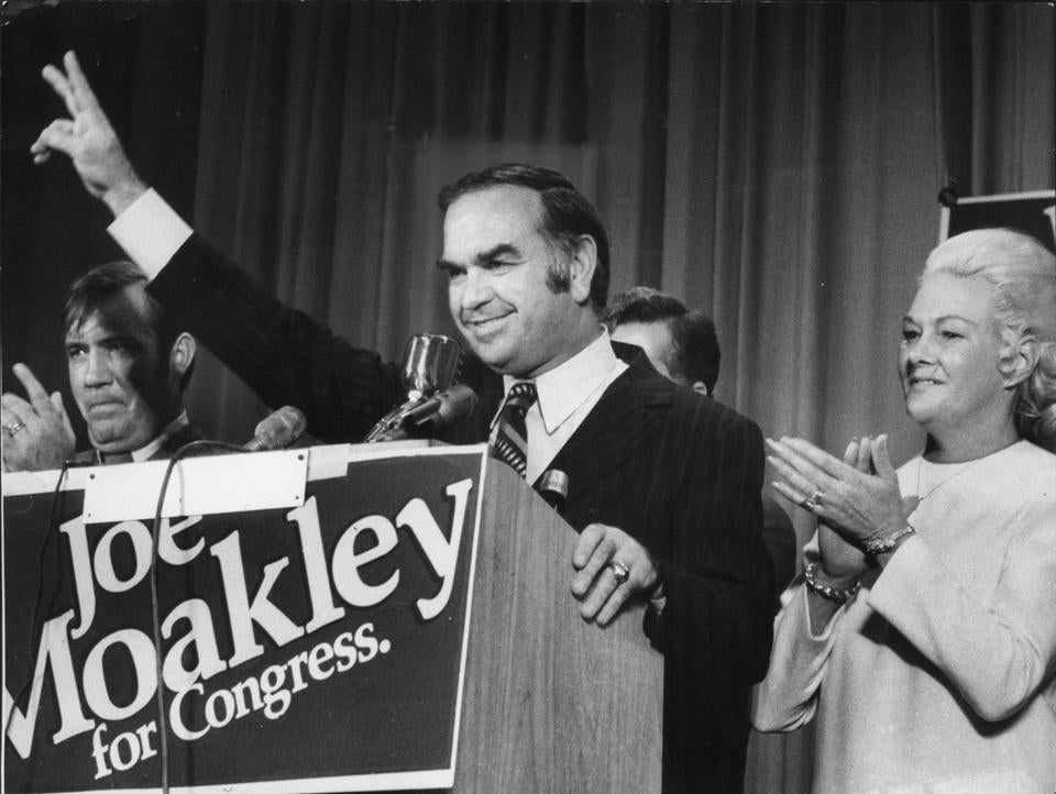 Joe Moakley celebrating his election to Congress  on Nov. 7, 1972, with his wife, Evelyn. He defeated Louise Day Hicks by running as an independent.